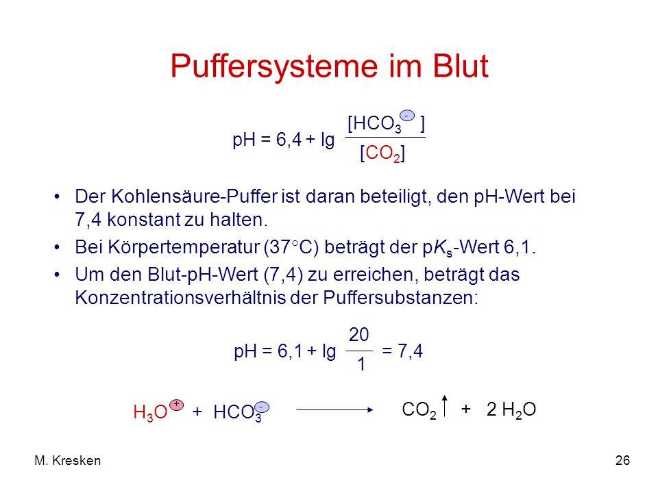 Puffersysteme im Blut pH = 6,4 + lg. [HCO3 ] - [CO2] Der Kohlensäure-Puffer ist daran beteiligt, den pH-Wert bei 7,4 konstant zu halten.